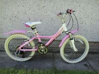 Giant Taffy pink/ white girls bike suit age 7 to 9 years old 20 inch wheels 6 gears light weight