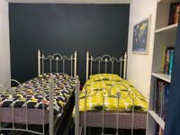 SINGLE BED FRAME WITH MATTRESS x 2