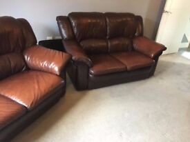 Brown Leather 3 piece suite. 2 x 2 seater settees and 1 chair GREAT CONDITION