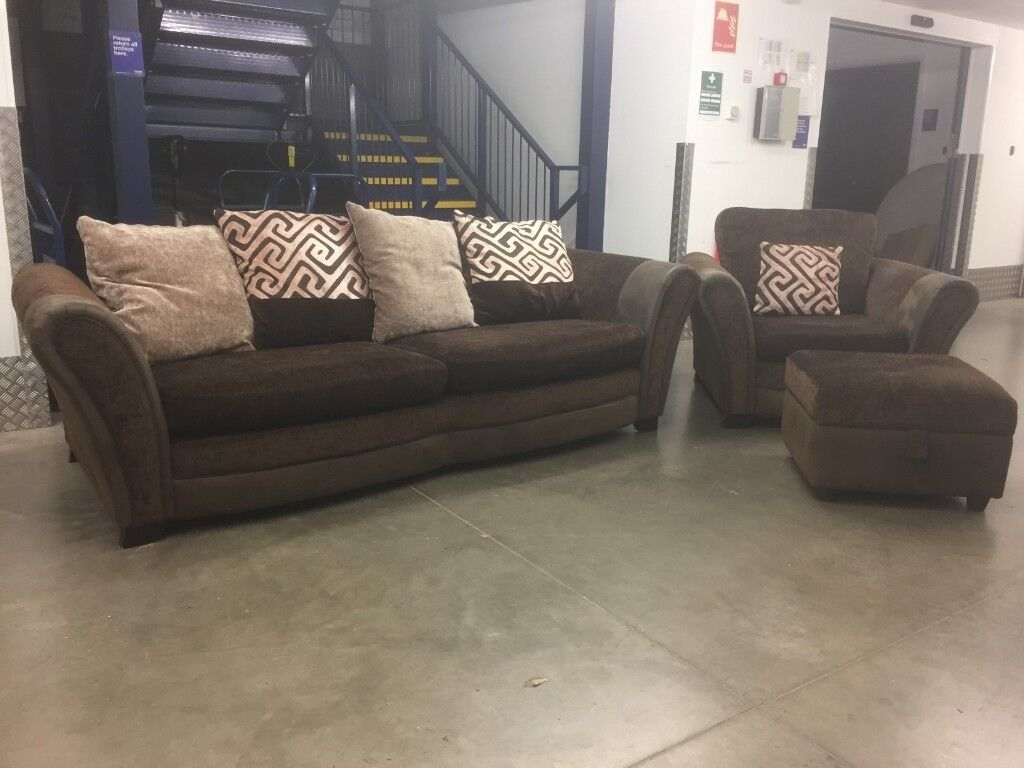 Brown Dfs 4 Seater Sofa And Matching Arm Chair Delivery