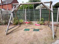 Double wooden garden swing set