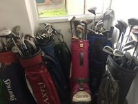 7 golf bags with one hundred clubs