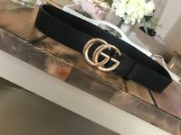 Gucci Belt Black With Gold GG