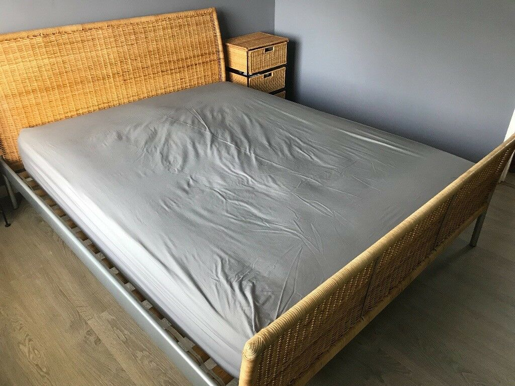 Ikea King Size Bed Frame With Wicker Style Head And Foot Boards Without Mattress In Huntingdon Cambridgeshire Gumtree