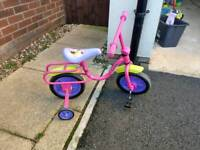 Little girls peddle bike