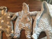 3 perfect condition as new baby outdoor suits, size 0-3 months.