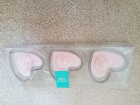 Set of 3 pink heart rose candles