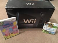 Nintendo Wii Black Edition Boxed with 2 controllers and nunchucks 2 Games Peppa Pig & Wii Sports