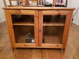 Oak wood TV or storage cabinet with glass front doors