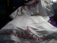 Wedding Dress white and red off the shoulder size 24