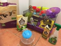 Hamster cage and accessories starter set