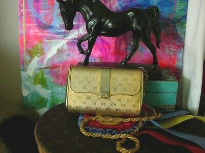 Ultra Rare GUCCI Vintage Gold Metal Minaudiere Evening Bag Cocktail Party Purse
