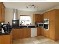 Oak kitchen complete with double electric oven, gas hob, chimney extractor hood