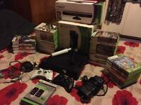 Xbox 360 Slim With Kinect matte black 20gb, 56 games 2 controllers+headset+lips microphones