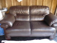 Reids Quality Brown Real Leather Sofa.