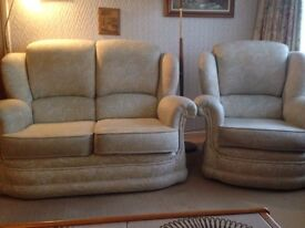 Good quality 3 piece suite in natural fabric