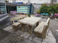 Garden table and benches railway sleeper FREE DELIVERY brand new sleepers Loughview Joinery LTD