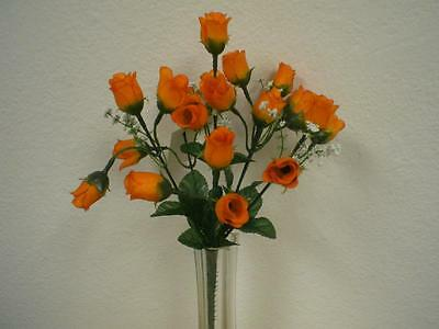 4 Bushes ORANGE Mini Rose Buds Artificial Silk Flower 12