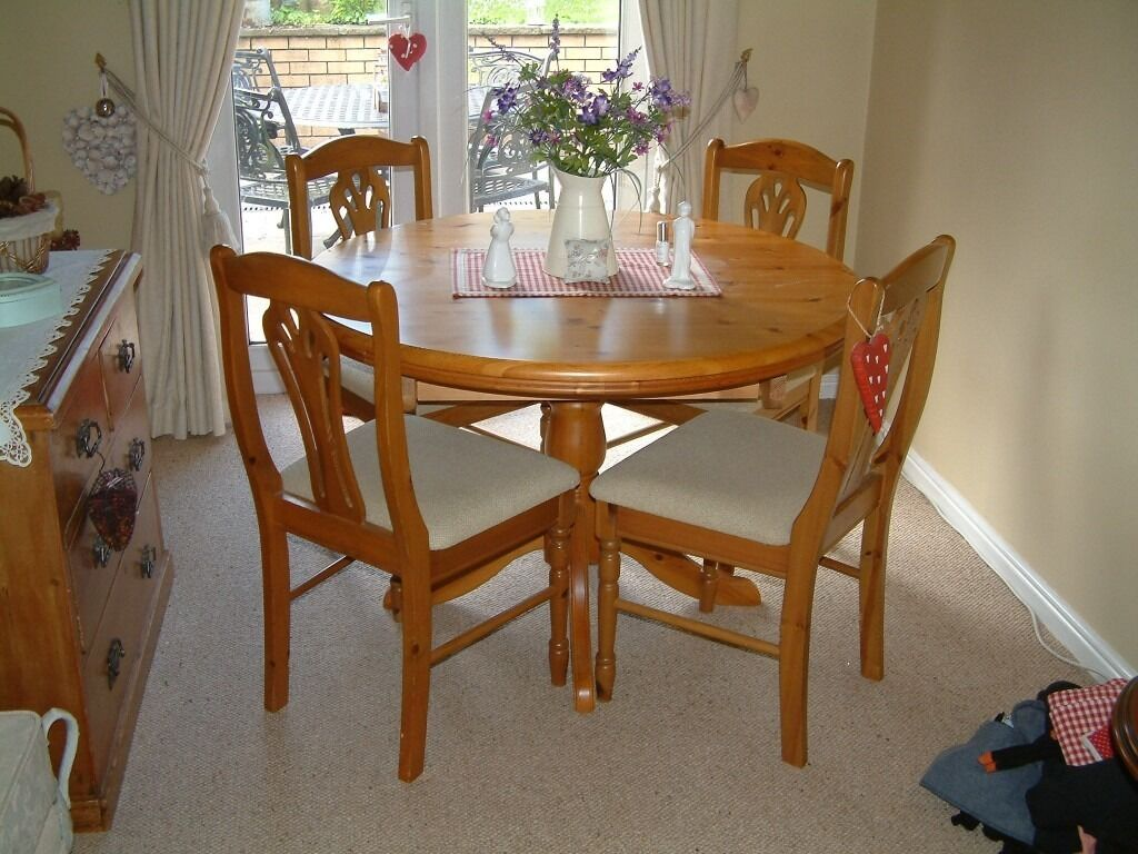 pine dinning room table and 4 chairs for sale in cwmavon neath port talbot gumtree. Black Bedroom Furniture Sets. Home Design Ideas