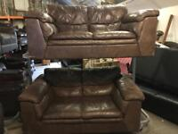 2 quality brown leather 2 seater sofas