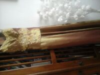 Cherlone size 10-12,Gold Strappy Prom, Bridesmaid, Evening, Formal Dress..beautiful detailing