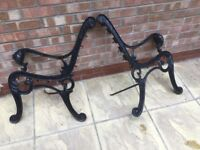 Vintage Cast Iron Garden Bench Seat Ends Lions Head
