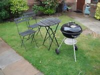 WEBBER 47m bar bq AND BISTRO TABLE & CHAIRS