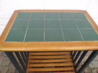 MODERN KITCHEN WORK TOP CHOPPING /PASTRY GENERAL USE TILED BLOCK UNIT WITH UNDER SHELF