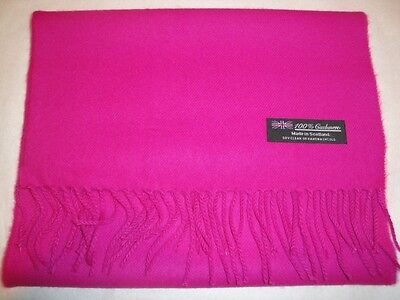 100% Cashmere Solid Elegant Hot Pink Scarf Made in Scotland Warm Wool Soft 2 - Hot Pink Scarf