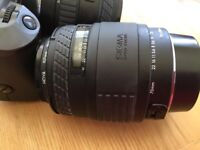 Canon EOS 600 film camera with sigma 28-70mm & 70-210mm lenses, and flashgun
