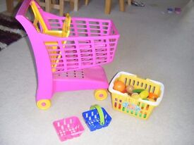 Kids Pink Shopping Trolley with Food and 2 x Little Baskets
