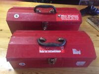 Metal Tool Box by Hire Station - Locks work - 2 available - price is for one