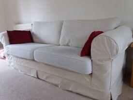 3 seater sofa £60, cream colour, machine washable covers