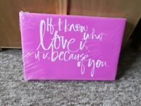 Pink scroll canvas / picture. BNWT £8