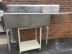 Commercial Heavy Duty  2 Compartment Stainless Steel Sink 66 x 29 inches