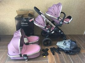 I CANDY PEACH 3 TWIN TRAVEL SYSTEM/PRAM/BUGGY IN MARSHMALLOW