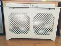 White Radiator cover with decorative panels