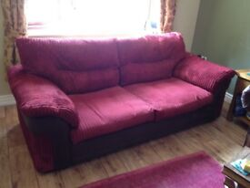 Red cord 3 seater sofa