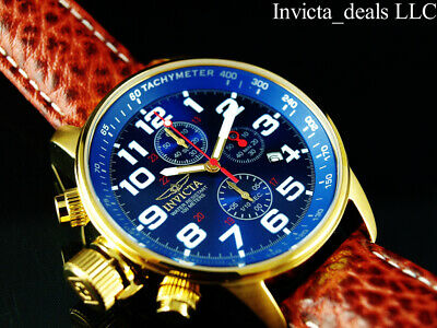 Invicta Men's 46mm I Force Lefty Chronograph Blue Dial 18K Gold Plated SS Watch