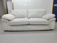 JUMBO CORD creme 3 seater sofa settee in very good condition / free delivery