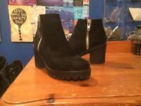 Black suede Chelsea boots size 5