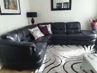 Large DFS comfy black leather corner sofa and storage seat