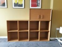 Habitat oak storage cubes and cupboard