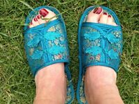 Chinese turquoise brocade slippers, size 5