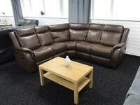 Recliner corner sofa faux leather brown