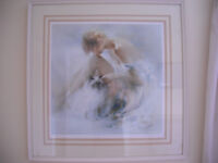 LADY AND THE CAT PICTURE IN LOVELY FRAME