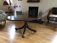Coffee table, oval, four claw legs