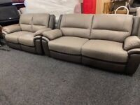 NEW EX DISPLAY SOFOLOGY PINTO GREY 3 + 2 SEATER SOFAS 70% Off RRP