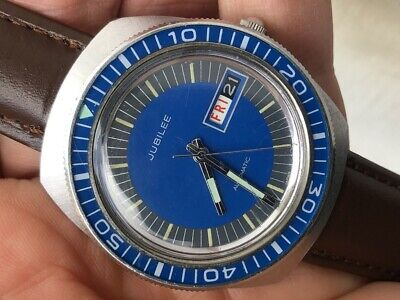 JUBILEE by Wittnauer Longines Automatic Diver Blue Rotating Bakelite Bezel 38mm