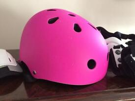 Skating/cycling safety helmet and full set pads (elbow, hand, knee pads).